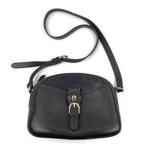 Vtg ETIENNE AIGNER Black Leather Crossbody Purse